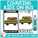 Dry Erase Counting Book/Cards or Clip Cards: Kids on Bus - Back to School ~Digital Download~